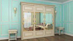 Шкаф купе с фрезеровкой и зеркальным панно Минусинск