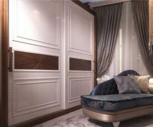 Шкаф купе с эмитацией филенки и фигурной накладкой, ламинация, шпон, эмаль Минусинск
